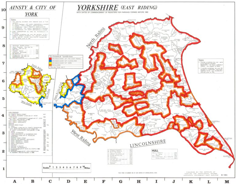 Associate Product YORKSHIRE East Riding. Parishes. Register start date. Ecclesiastical  1984 map
