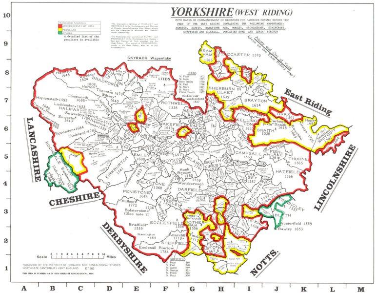 YORKSHIREWest Riding. Parishes. Register start date. Ecclesiastical  1984 map