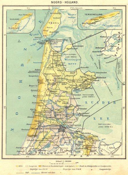 Associate Product NETHERLANDS. Noord- Holland 1922 old vintage map plan chart