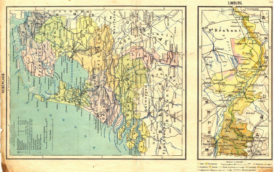 Associate Product NETHERLANDS. Nederland; Limburg 1922 old vintage map plan chart