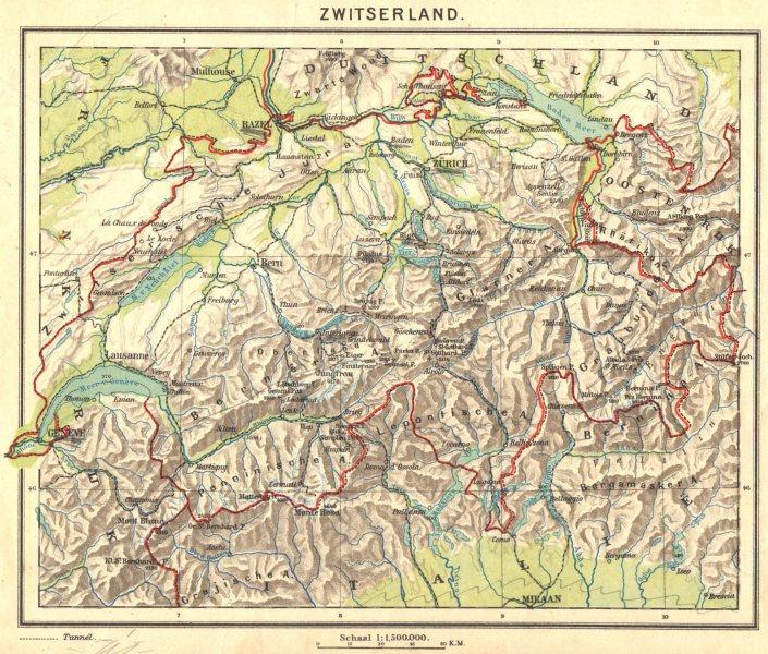 Associate Product SWITZERLAND. Zwitserland 1922 old vintage map plan chart