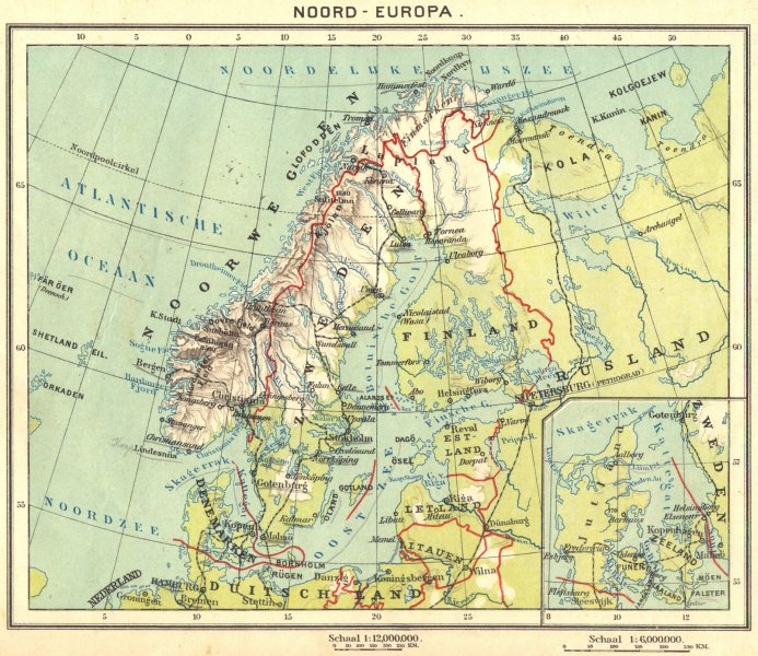 Associate Product EUROPE. Noord- Europa; Inset map of Gotenburg 1922 old vintage plan chart