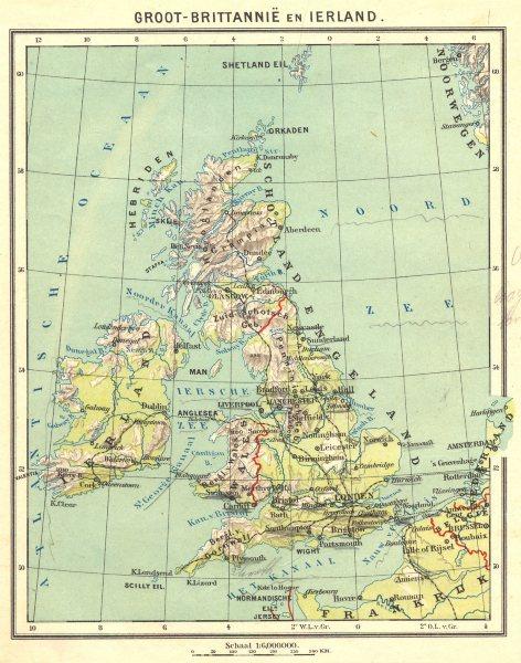 UK. Groot- Brittannië en Ierland 1922 old vintage map plan chart
