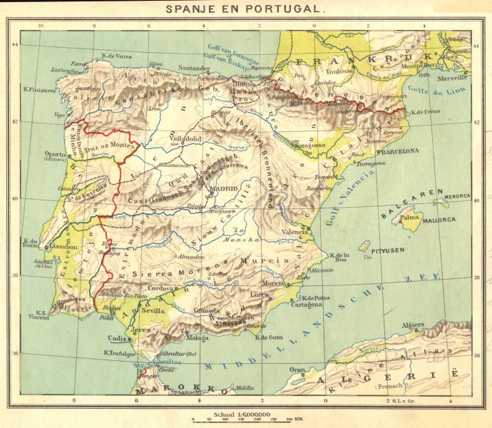 Associate Product PORTUGAL. Spanje en Portugal 1922 old vintage map plan chart