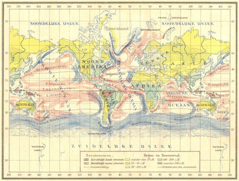 Associate Product WORLD. Zeestroomen- Regen en Sneeuwval 1922 old vintage map plan chart