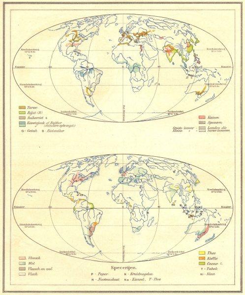 Associate Product WORLD. Voortbrengselen; Specerijen 1922 old vintage map plan chart
