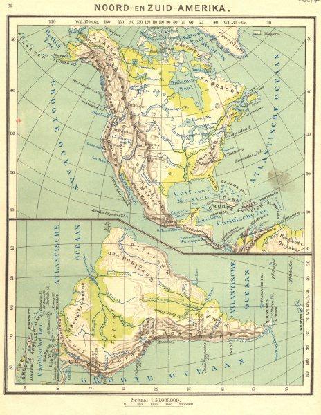 Associate Product N AMERICA. Noord- Zuid- Amerika; Atlantische Oceaan (1)  1922 old vintage map