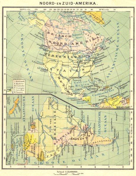 Associate Product N AMERICA. Noord- Zuid- Amerika; Atlantische Oceaan (2)  1922 old vintage map