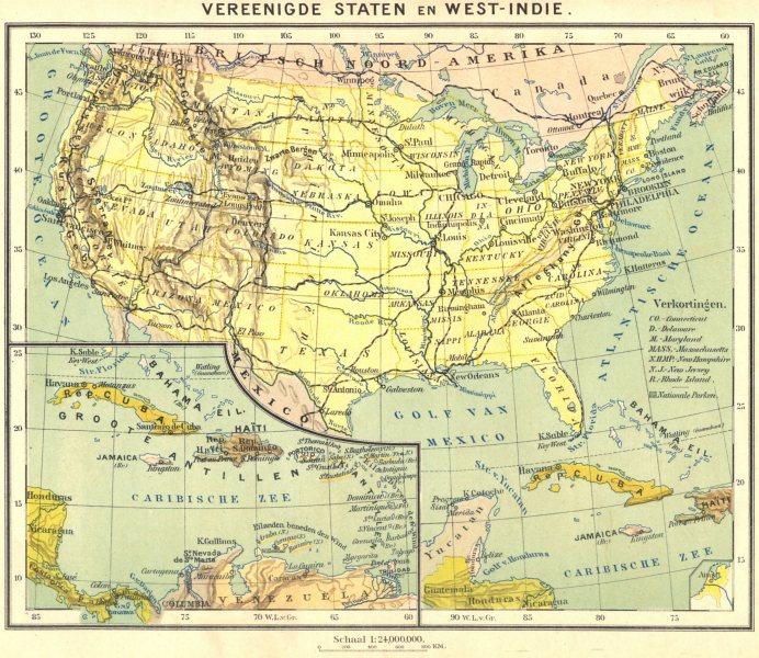 Associate Product USA. Vereenigde Staten en West- Indië 1922 old vintage map plan chart