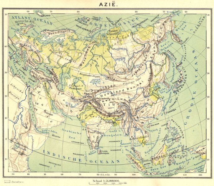 Associate Product ASIA. Azië (1)  1922 old vintage map plan chart