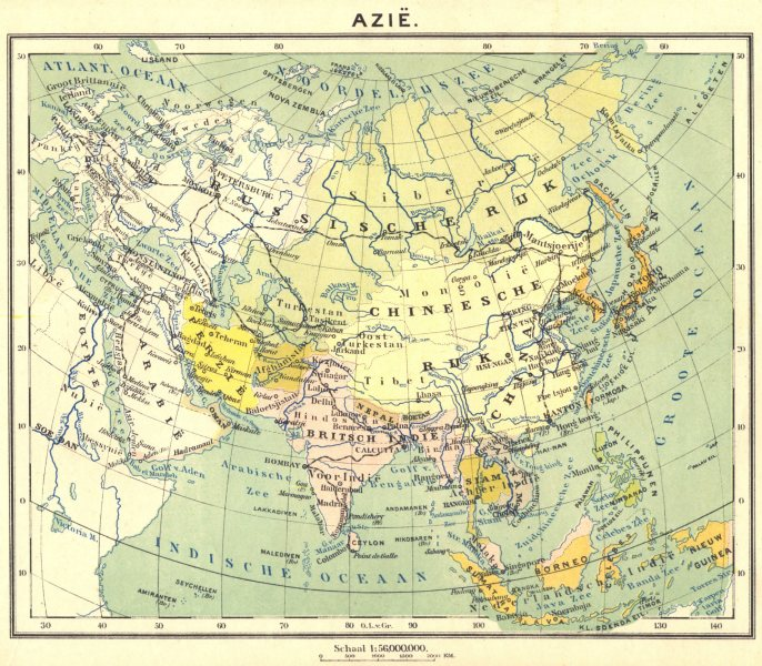 Associate Product ASIA. Azië (2)  1922 old vintage map plan chart