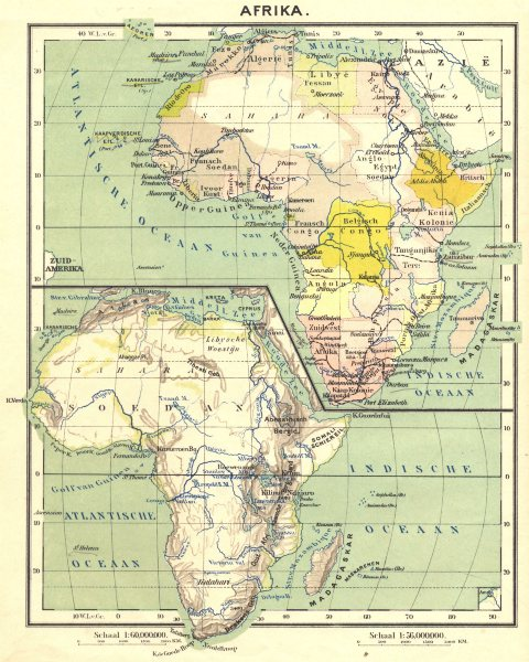 Associate Product AFRICA. Afrika; Inset map of Indische Oceaan 1922 old vintage plan chart