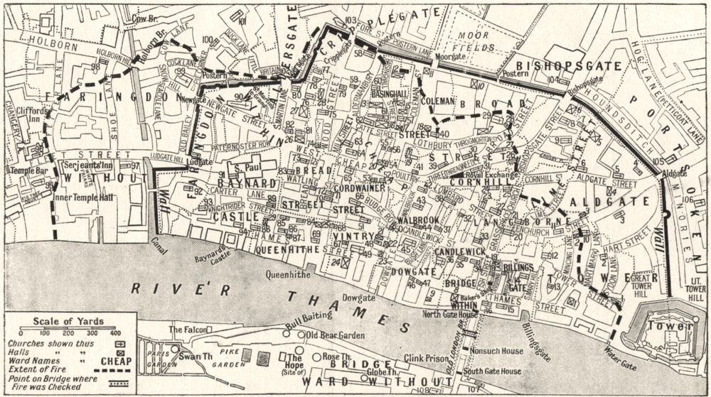 Associate Product LONDON. City Churches, Wards Guildhalls before the Great fire 1926 old map