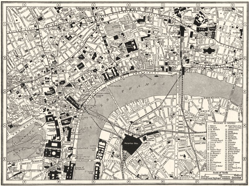 Associate Product LONDON. Central. guide to theatres & main Cinemas 1926 old vintage map chart