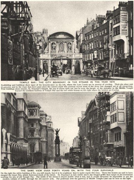 Associate Product LONDON. Temple Bar. City boundary Strand 1878; c1918. four survivals 1926
