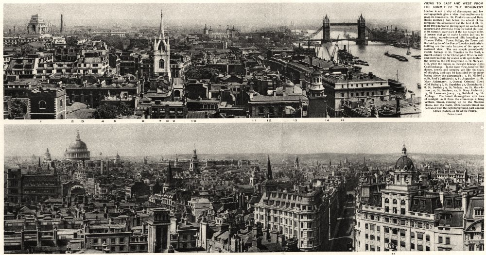 Associate Product LONDON. Views to East and West from the summit of the monument 1926 old print