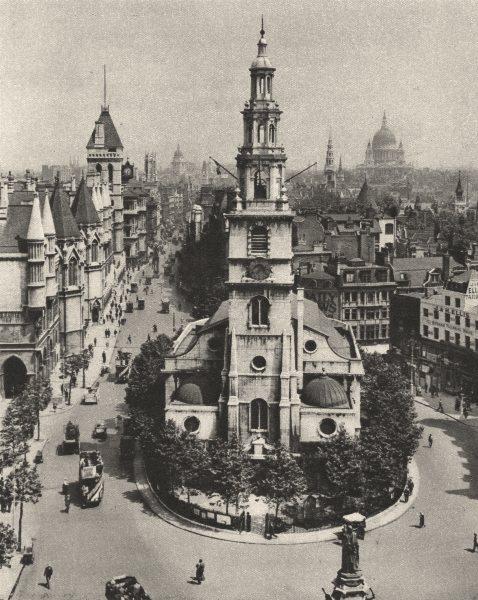 Associate Product LONDON. St. Clement Dane's, Strand & Fleet Street from Australia House 1926