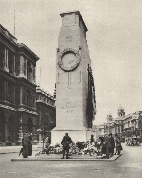 Associate Product LONDON. England's Greatest memorial. The empty tomb in Whitehall 1926 print