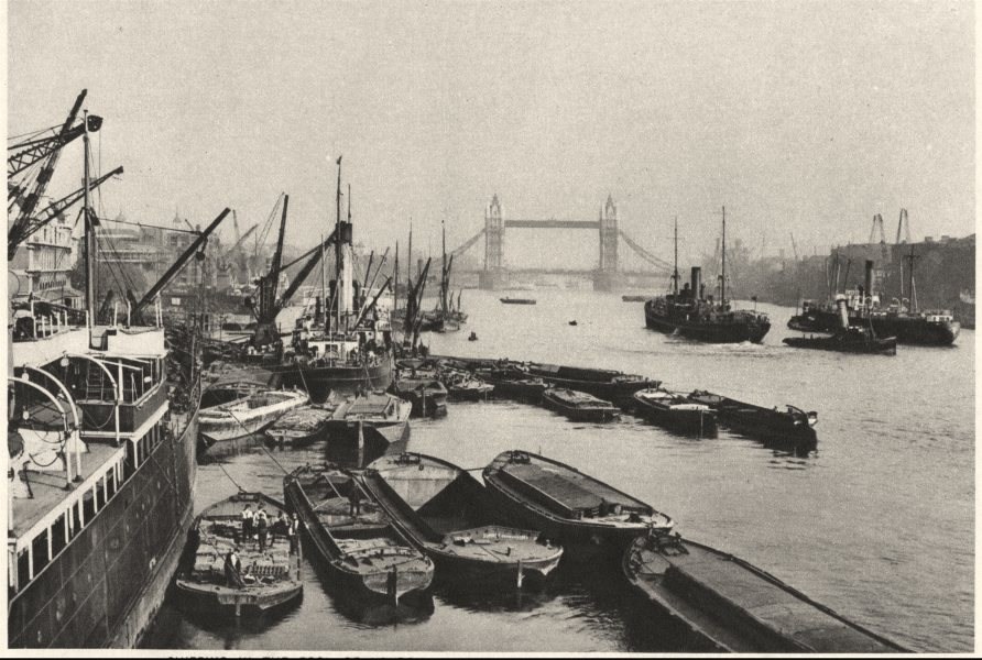 Associate Product LONDON. Shipping pool of. A vista from London Bridge to Tower Bridge 1926