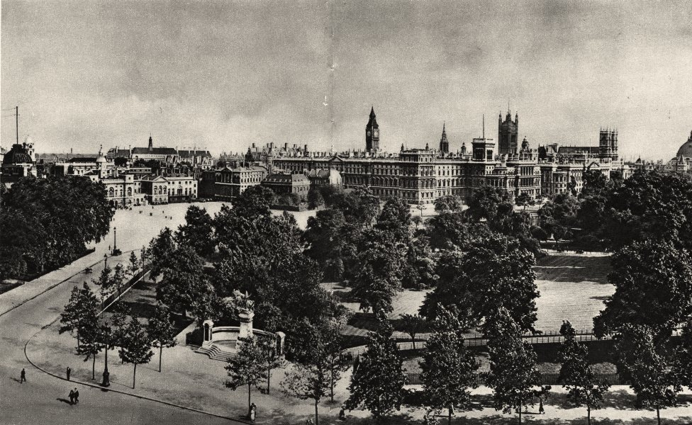 Associate Product LONDON. Splendid Vista of trees & Towers from St. James's to Whitehall 1926