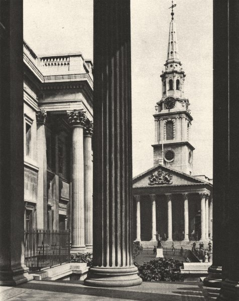 Associate Product LONDON. St. Martin's-in-the-Fields seen between columns National Gallery 1926