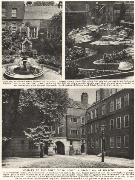 Associate Product LONDON. Cobbles of the Quiet outer Court in Staple Inn at Holborn 1926 print