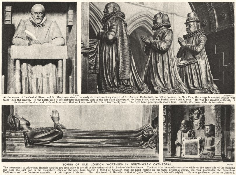 Associate Product LONDON. Tombs of old London Worthies in Southwark Cathedral 1926 print