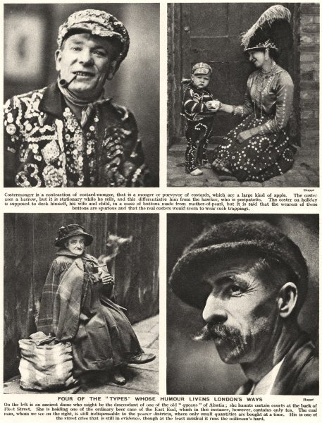 Associate Product LONDON. 4 types whose humour livens London's ways. Costermongers 1926 print