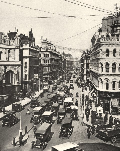 Associate Product LONDON. Queen Victoria Street at its intersection with Cannon Street 1926