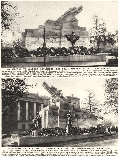 Associate Product GROSVENOR PLACE. Royal Rgt artillery memorial-9 inch howitzer controversy 1926