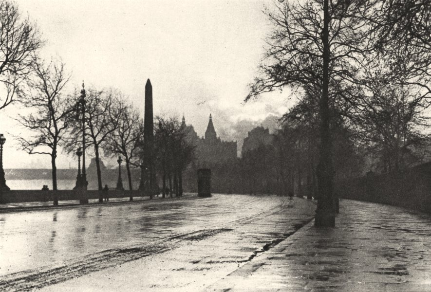 LONDON. Sunset of a Showery day Embankment between Temple & Charing Cross 1926