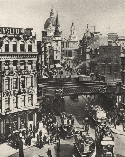 Associate Product LONDON.Spire of St. Martin's Ludgate silhouetted against bulk of St. Paul's 1926