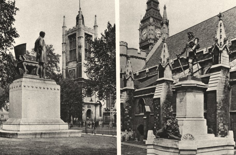 Associate Product LONDON. Lincoln's Memorial in broad sanctuary; Cromwell Westminster hall 1926