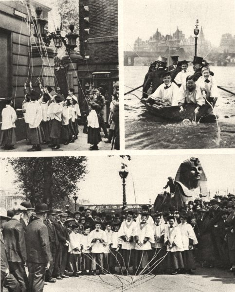 Associate Product LONDON. Choristers of St. Clement Danes take to Thames beat Parish bounds 1926