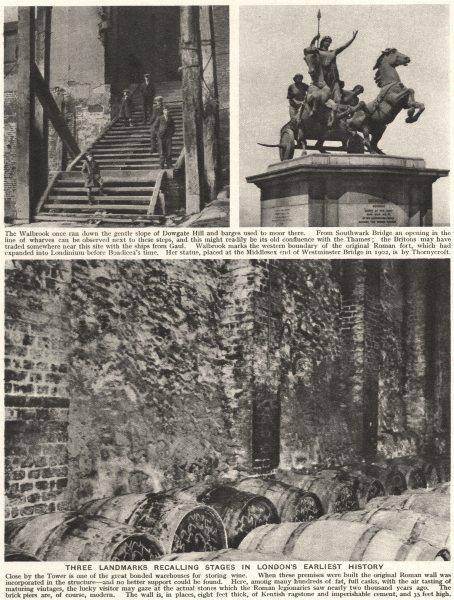 Associate Product LONDON. 3 landmarks from London's earliest history. Walbrook 1926 old print