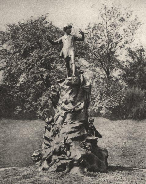 Associate Product LONDON. Sir George Frampton's Peter Pan, set up in 1912. Serpentine 1926 print