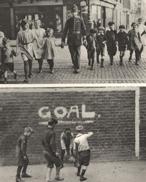 Associate Product LONDON. Police.Children.Safety crossing a road and Football in the East-End 1926