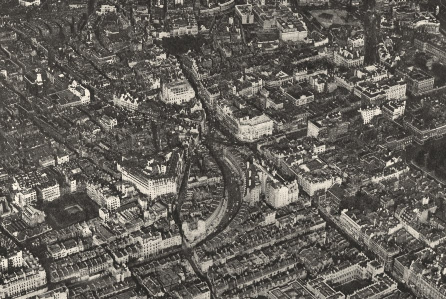 Associate Product CENTRAL LONDON. Burlington House to Trafalgar Square as aircraft sees it 1926