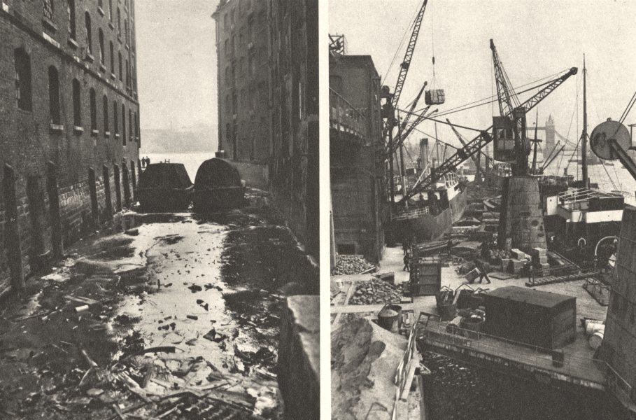 Associate Product LONDON. Old Puddle dock & fruit wharves 1926 vintage print picture