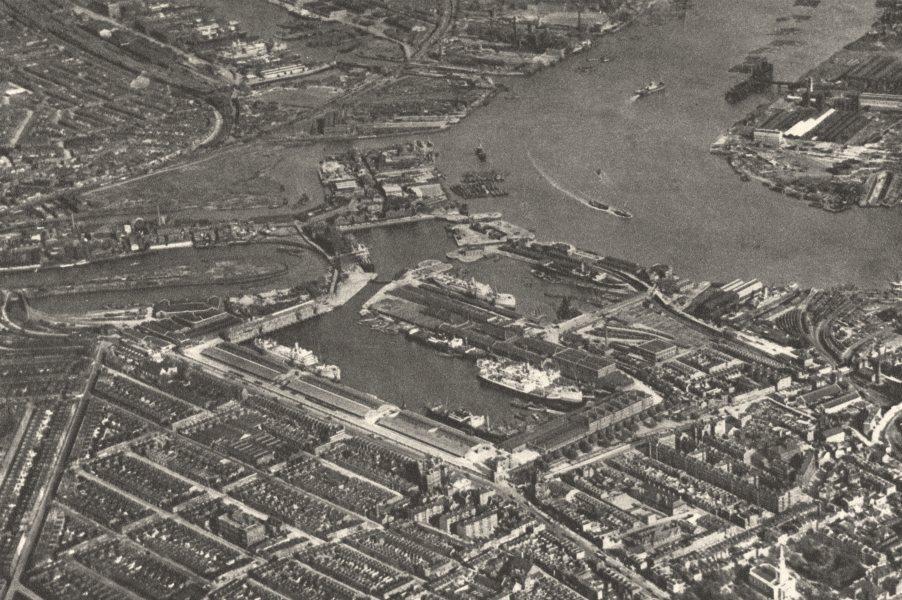 Associate Product LONDON. 3 Basins of East India Docks & Blackwall reach Thames from air 1926