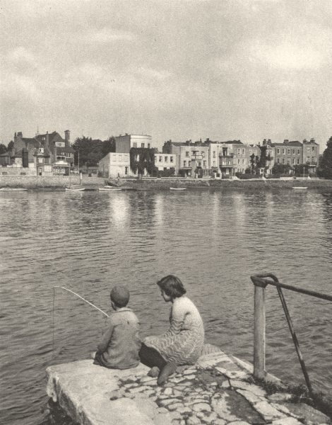 Associate Product MIDDLESEX. Old Village of Strand-on-the-green. Boy fishing 1926 print