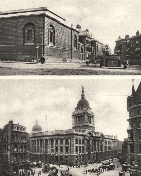 LONDON. Newgate Prison; Old Bailey Central Criminal Court on its site 1926