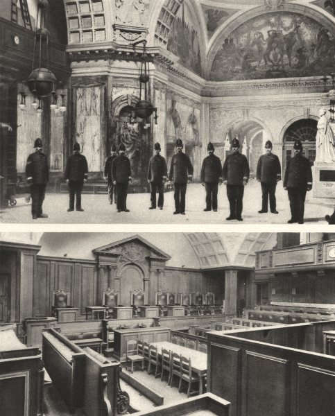 Associate Product LONDON. Inside the Old Bailey. The great hall and one of the Courts 1926 print