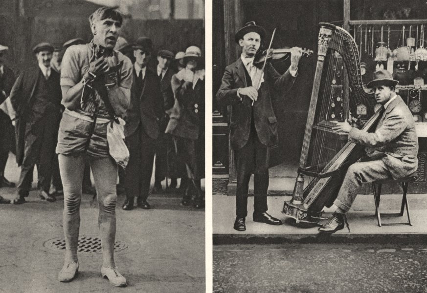 Associate Product LONDON. 2 entertainer. Weirdly- Garbed Houdini Pit Queue wandering Harpist 1926