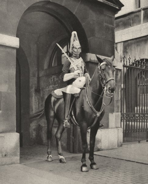 Associate Product LONDON. A Living statue in Whitehall. The lifeguards sentry 1926 old print