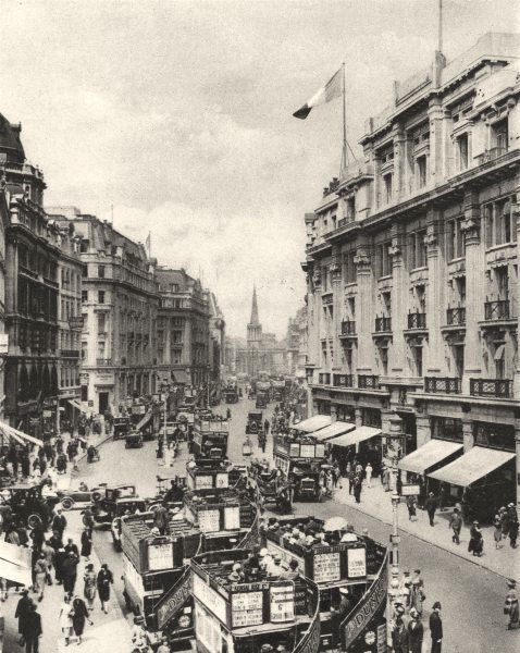 Associate Product LONDON. Upper part of Regent Street, the paradise of London's shoppers 1926