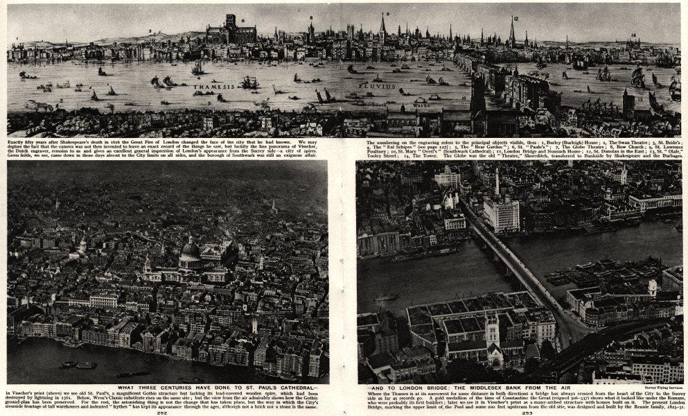Associate Product CITY OF LONDON. St Paul's Cathderal. London Bridge. Mddx Bank 300 yrs apart 1926