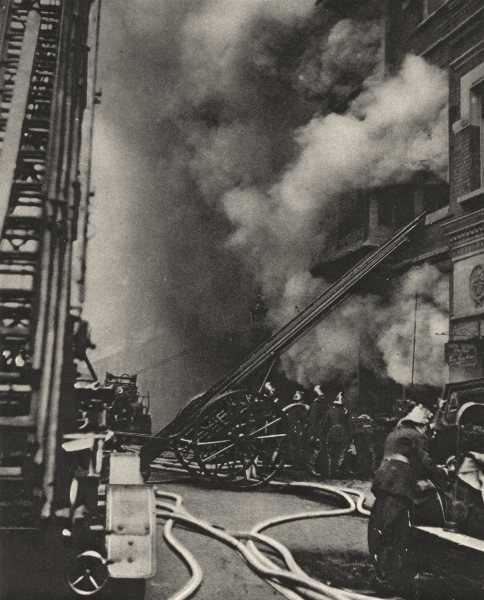 Associate Product CITY OF LONDON. Fire brigade. Subduing a Conflagration in a narrow street 1926