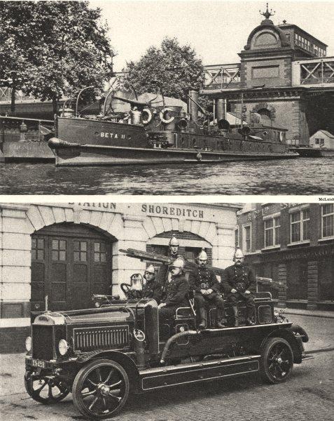 Associate Product HUNGERFORD BRIDGE. Fire brigade. steam-driven firefloat motor engine 1926