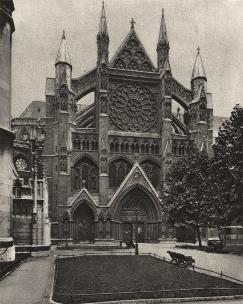 Associate Product WESTMINSTER ABBEY. North front and the main entrance to the Abbey 1926 print